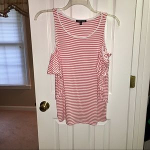 Cable and Gauge Cold Shoulder Top